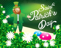 Happy St Patrick day Background with clover Stock Image