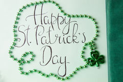 Happy St Patrick day card and green accessories Stock Image