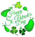 Happy St Patrick day card with green beer drop. Background Royalty Free Stock Photos