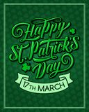 Saint Patrick Day vector pattern greeting card. Happy St Patrick Day greeting card for Irish traditional feast holiday. Vector shamrock clover leaf green pattern Stock Photography
