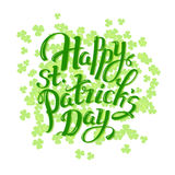 Happy St. Patrick day hand lettering logotype, badge typography. Lettering Patrick day, clover leaf for greeting card Royalty Free Stock Photo