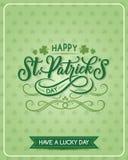 St Patrick Day vector shamrock greeting card. Happy St Patrick Day Irish holiday greeting card on shamrock clover leaf pattern background. Vector Saint Patrick Stock Photo
