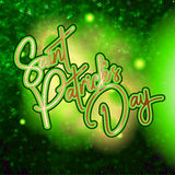 Happy St. Patrick Day lettering background with glitter and c Stock Photo
