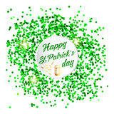 Happy St. Patrick Day lettering background with glitter clover Royalty Free Stock Photo