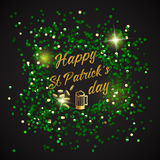 Happy St. Patrick Day lettering background with glitter clover Royalty Free Stock Photography