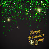Happy St. Patrick Day lettering background with glitter clover Stock Image