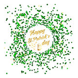 Happy St. Patrick Day lettering background with glitter clover Royalty Free Stock Image