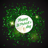 Happy St. Patrick Day lettering background with glitter clover Royalty Free Stock Images