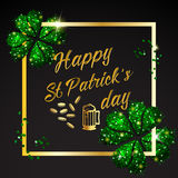 Happy St. Patrick Day lettering background with glitter clover Royalty Free Stock Photos