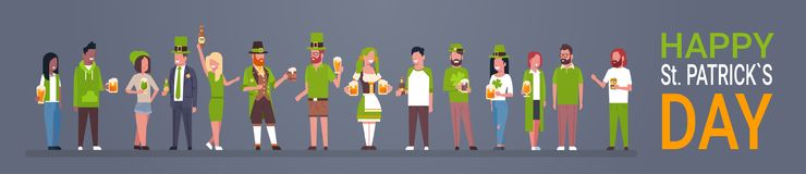 Happy St. Patrick Day Party Poster, Group Of People In Green Clothes Drinking Beer Horizontal Banner. Flat Vector Illustration stock illustration