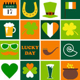 Happy St. Patrick Day. Set of holidays icons. Vector illustration Stock Photography