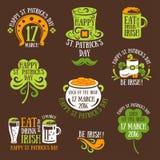 Happy St. Patrick Day Typography Emblems Stock Photos