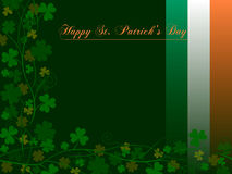 Happy St. Patrick s Day [1]. St. Patricks or Saint Patrick s Day background with shamrocks, four-leaf clovers and the colours of the Ireland flag. Useful also royalty free illustration