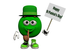 Happy St Patrick's Day. A Green smiling, emoticon holds a sign wishing everyone a Happy St Patrick's Day.  Computer Generated Image, 3D models Royalty Free Stock Photo