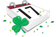 Happy St. Patrick's day. Illustration of a calendar turned to St. Patrick's day stock illustration