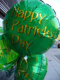 Happy St. Patrick's Day. Photo of green helium balloons celebrating St. Patrick's day in Washington D.C Royalty Free Stock Photo