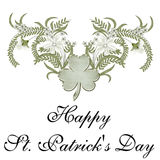 Happy St. Patrick's Day. A beautifully designed flower arrangment with a shamrock in the center. And, the words Happy St. Patrick's Day added to it. Beautifully vector illustration