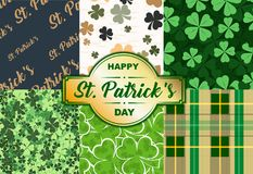 Happy St. Patrick`s Day backgrounds. Happy St. Patrick`s Day! Set of holiday backgrounds. Collection of seamless patterns in green and gold colors. Vector Stock Image