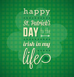 Happy St. Patricks Day Card. Green happy St. Patricks day card with clover Royalty Free Stock Photography