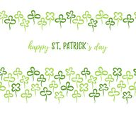 St. Patrick`s day clover leaves seamless horizontal borders royalty free stock images