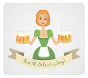 Happy St Patrick's day card with girl and beer Stock Photography