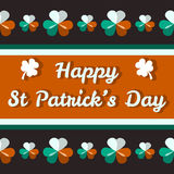 Happy St Patrick's Day card with shamrocks. Happy St Patrick's Day background with white, green and orange shamrocks and text Stock Image