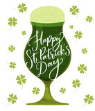 Happy St. Patrick`s day card. Typography greeting at green beer glass. Vector modern calligraphy. Happy St. Patrick`s day card. Typography greeting at green Royalty Free Stock Images