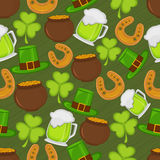 Happy St. Patricks Day celebration background. St. Patricks Day ornaments decorated pattern on green background Royalty Free Stock Photo
