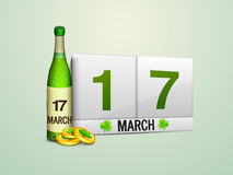 Happy St. Patricks Day celebration with beer and coins. Royalty Free Stock Image
