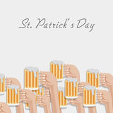 Happy St. Patrick's Day celebration with beer. Royalty Free Stock Image