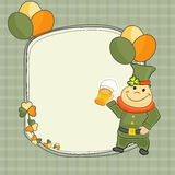 Happy St. Patricks Day celebration with blank frame. Blank frame decorated with balloons, clover leaves and smiling leprechaun holding beer mug for Happy St Royalty Free Stock Photos