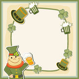 Happy St. Patricks Day celebration with blank frame. Happy St. Patricks Day celebration blank frame with smiling leprechaun holding beer mug and other objects Stock Photography