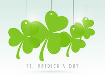 Happy St. Patricks Day celebration with clover leaves. Royalty Free Stock Images