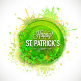 Happy St. Patricks Day celebration concept. Happy St. Patricks Day celebration with Irish lucky clover leaf and gold coins on color splash background Royalty Free Stock Images