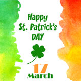 Happy St. Patrick`s Day celebration concept poster with Irish flag colors watercolor texture and text 17 March. Vector. Illustration for cards, banners, print Stock Image