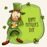Happy St. Patricks Day celebration with cute leprechaun. Happy Leprechaun holding beer mug and smocking tobacco pipe on occasion of Happy Patricks Day Stock Photos