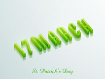 Happy St. Patricks Day celebration with 3D text. Glossy 3D text 17 March for Happy St. Patricks Day celebration, can be used as greeting or invitation card Royalty Free Stock Photo