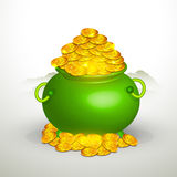 Happy St. Patricks Day celebration with green pot. Royalty Free Stock Photography