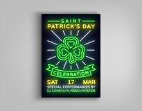 Happy St. Patrick`s Day celebration invitation card design. Poster in the style neon, neon sign, neon bright for a party. Festival. Brochure, flyer for your vector illustration