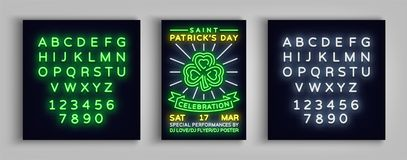 Happy St. Patrick`s Day celebration invitation card design. Poster in the style neon, neon sign, neon bright for a party. Festival. Brochure, flyer. Vector Stock Images