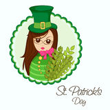 Happy St. Patricks Day celebration with leprechaun girl. Stock Images