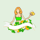 Happy St. Patricks Day celebration with leprechaun girl. Stock Photo