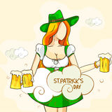 Happy St. Patrick's Day celebration with leprechaun girl. Stock Photo