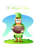 Happy St. Patrick's Day celebration with leprechaun. Royalty Free Stock Images