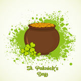 Happy St. Patricks Day celebration with mud pot. Happy St. Patricks Day celebration with brown mud pot full of gold coins and clover leaves on green color Royalty Free Stock Photography
