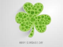 Happy St. Patricks Day celebration with shamrock leaf. Irish lucky shamrock leaf on grey background for Happy St. Patricks Day celebration Royalty Free Stock Images