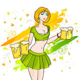 Happy St. Patricks Day celebration with young girl. Beautiful young leprechaun girl serving beer on paint stroke background for Happy St. Patricks Day Stock Image