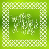 Happy St. Patrick`s day in celtic frame Royalty Free Stock Photos