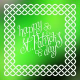 Happy St. Patrick's day in celtic frame Stock Photo