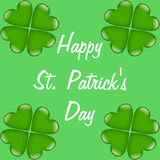 Happy St. Patrick's Day with cloverleaves Royalty Free Stock Photo